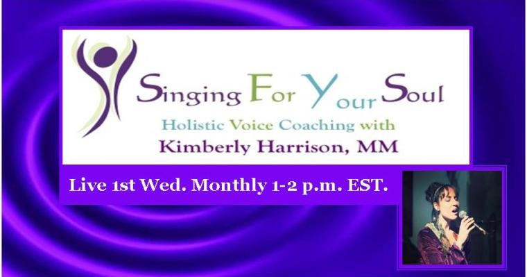 Singing For Your Soul Radio Show Banner. Live 1st Wed Monthly from 1-2 pm EST