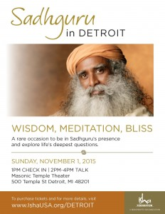 e-flier, World Renowned Yogi, Sadhguru Vasudev to Visit Detroit, Nov 1 2015